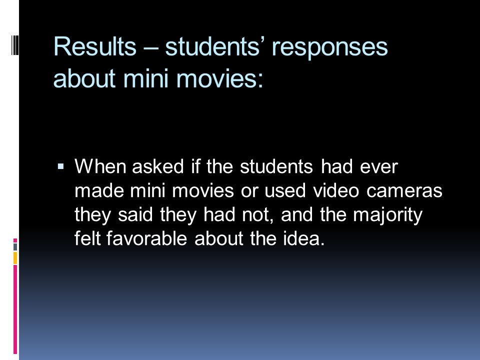 Results – students responses about mini movies: When asked if the students had ever made mini movies or used video cameras they said they had not, and