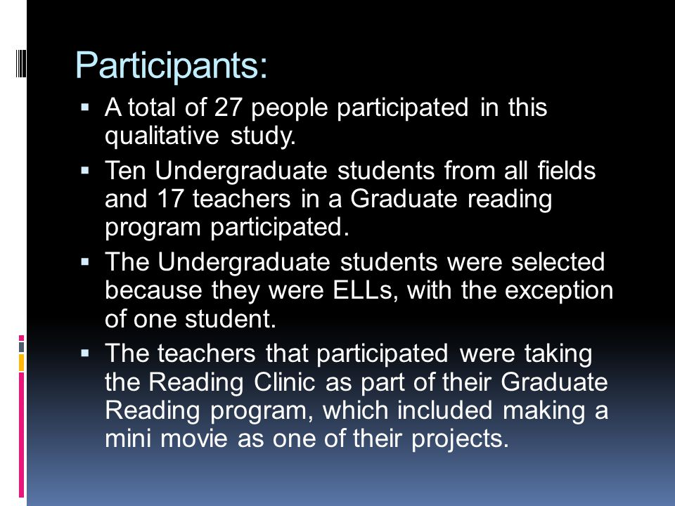 Participants: A total of 27 people participated in this qualitative study. Ten Undergraduate students from all fields and 17 teachers in a Graduate re