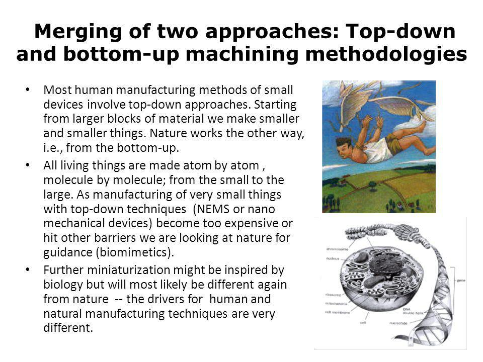 Merging of two approaches: Top-down and bottom-up machining methodologies Most human manufacturing methods of small devices involve top-down approache
