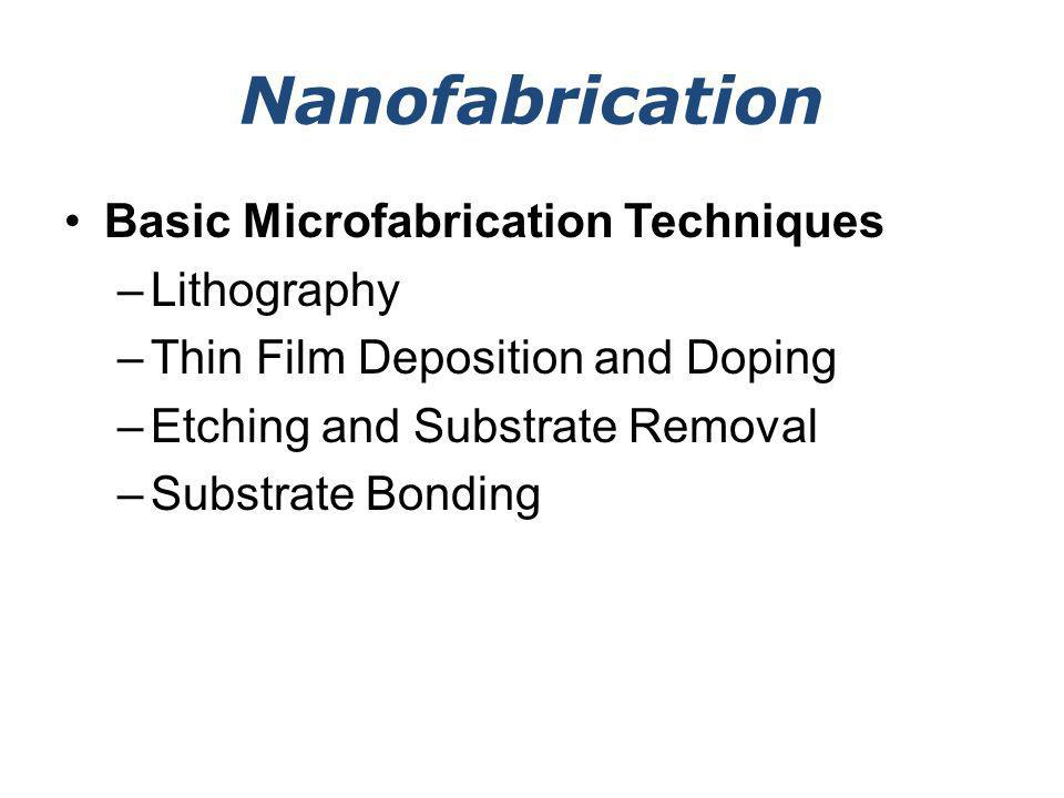 Etching / Substrate Removal Very often the substrate (silicon, glass, GaAs, etc.) also needs to be removed in order to create various mechanical micro- /nanostructures (beams, plates, etc.).