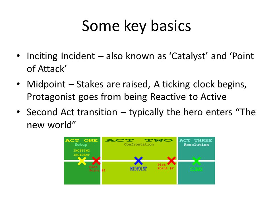 Some key basics Inciting Incident – also known as Catalyst and Point of Attack Midpoint – Stakes are raised, A ticking clock begins, Protagonist goes
