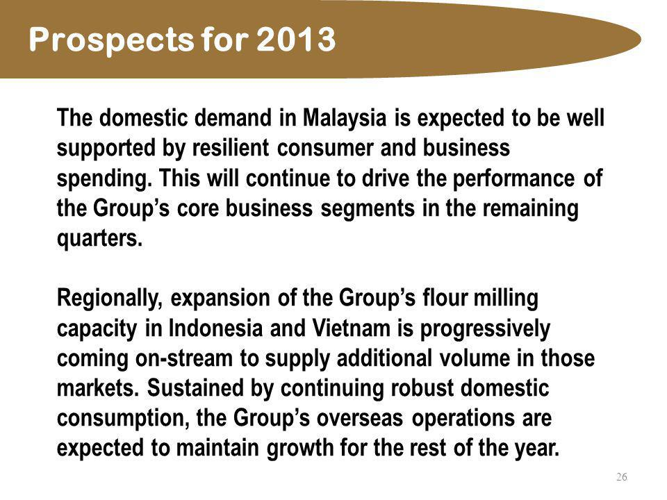 26 Prospects for 2013 The domestic demand in Malaysia is expected to be well supported by resilient consumer and business spending. This will continue