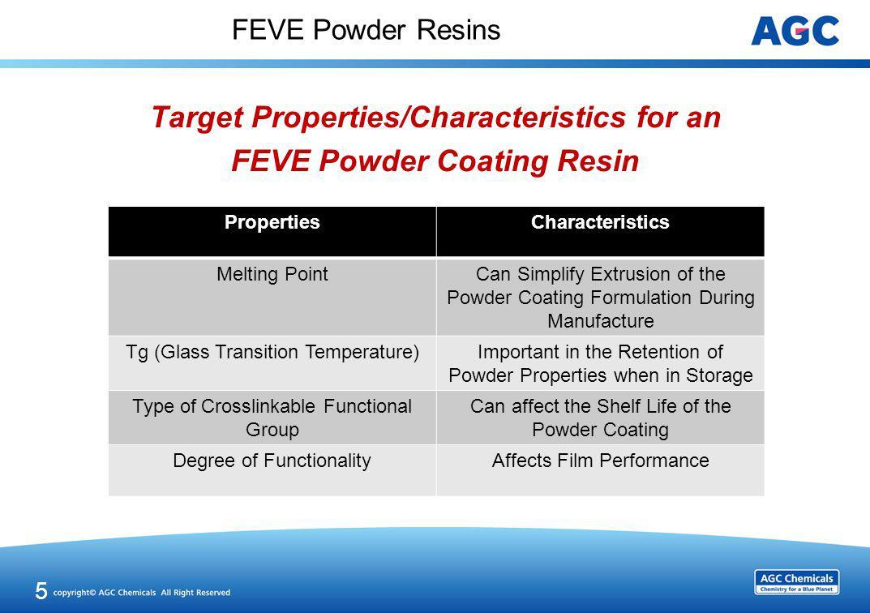FEVE Powder Resins Target Properties/Characteristics for an FEVE Powder Coating Resin 5 PropertiesCharacteristics Melting PointCan Simplify Extrusion