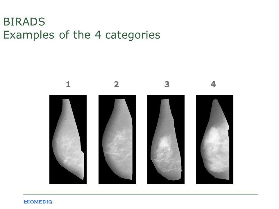 Biomediq BIRADS Examples of the 4 categories 1234