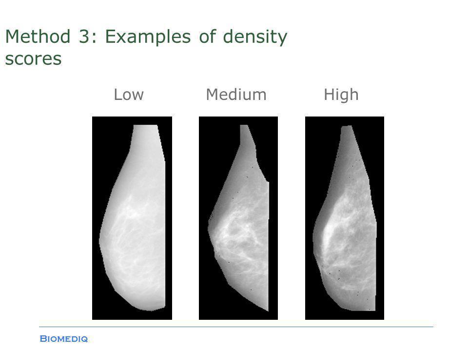 Biomediq Method 3: Examples of density scores LowMediumHigh