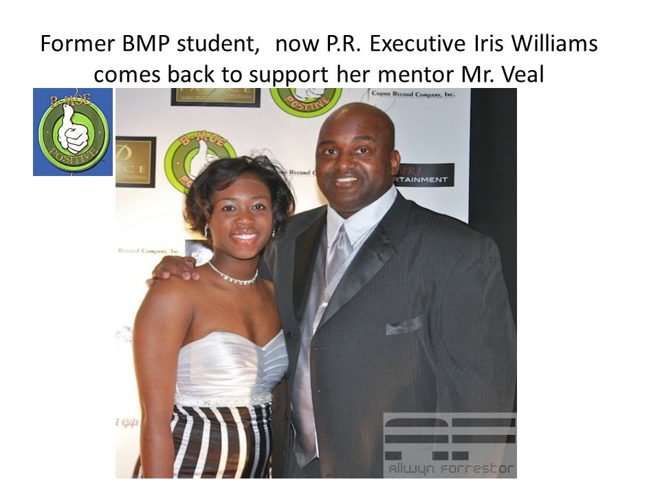 Former BMP student, now P.R. Executive Iris Williams comes back to support her mentor Mr. Veal