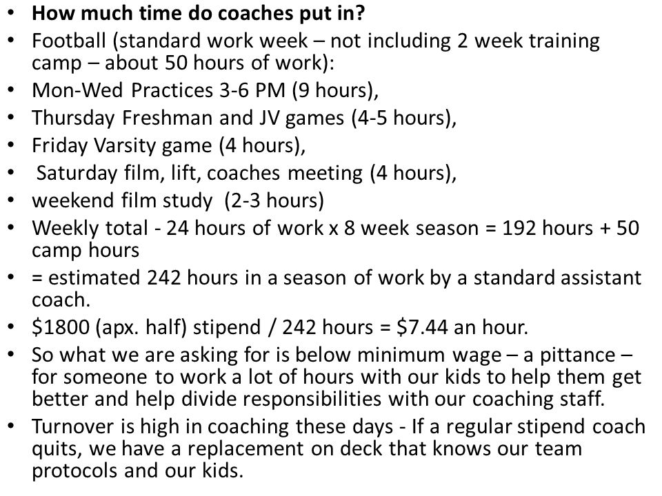 How much time do coaches put in? Football (standard work week – not including 2 week training camp – about 50 hours of work): Mon-Wed Practices 3-6 PM
