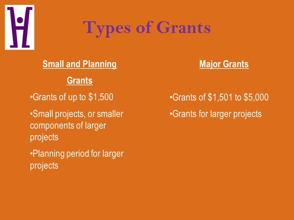 Types of Grants Small and Planning Grants Grants of up to $1,500 Small projects, or smaller components of larger projects Planning period for larger p