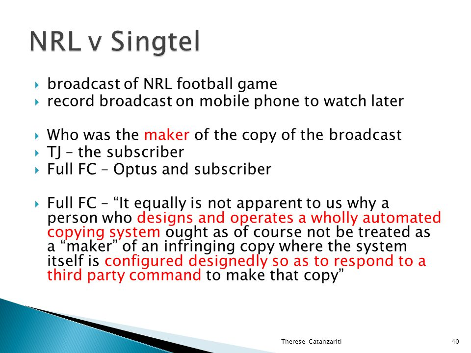 broadcast of NRL football game record broadcast on mobile phone to watch later Who was the maker of the copy of the broadcast TJ – the subscriber Full