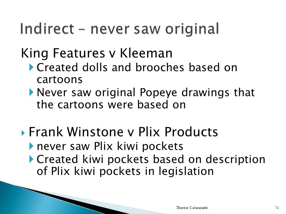 King Features v Kleeman Created dolls and brooches based on cartoons Never saw original Popeye drawings that the cartoons were based on Frank Winstone
