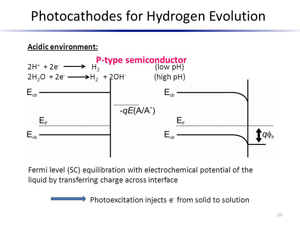 Photocathodes for Hydrogen Evolution Fermi level (SC) equilibration with electrochemical potential of the liquid by transferring charge across interfa