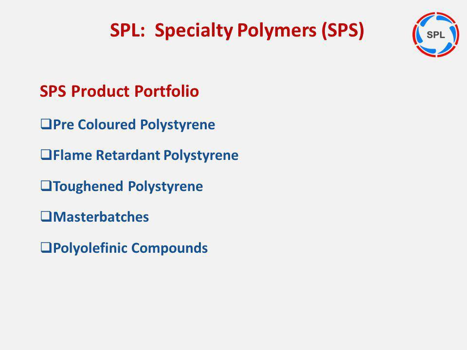 SPS Product Portfolio Pre Coloured Polystyrene Flame Retardant Polystyrene Toughened Polystyrene Masterbatches Polyolefinic Compounds SPL: Specialty P