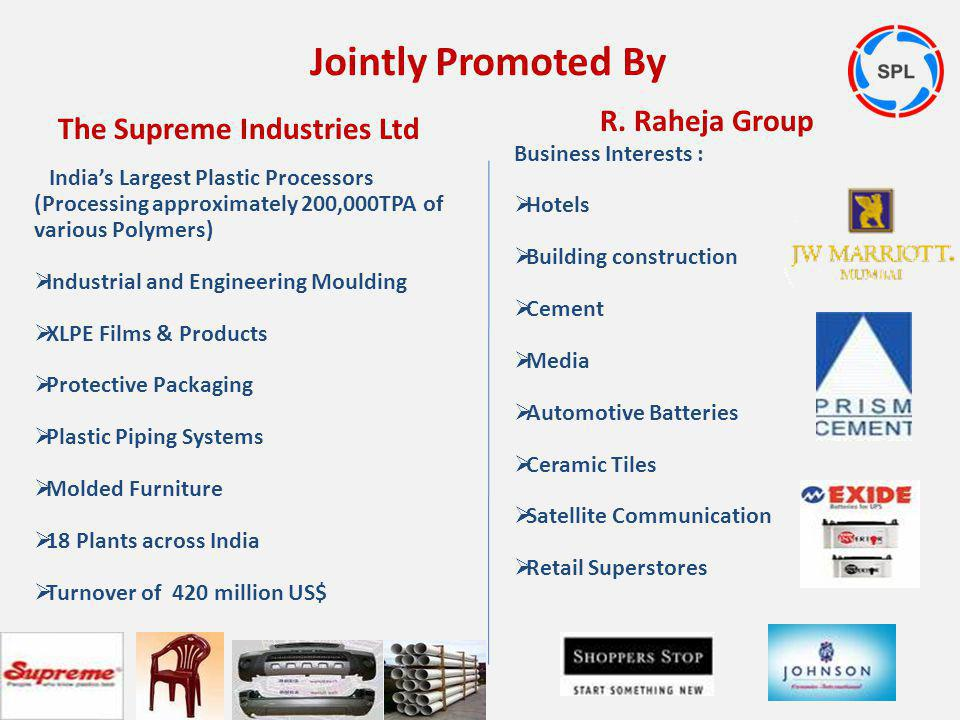 Jointly Promoted By The Supreme Industries Ltd R. Raheja Group Business Interests : Hotels Building construction Cement Media Automotive Batteries Cer