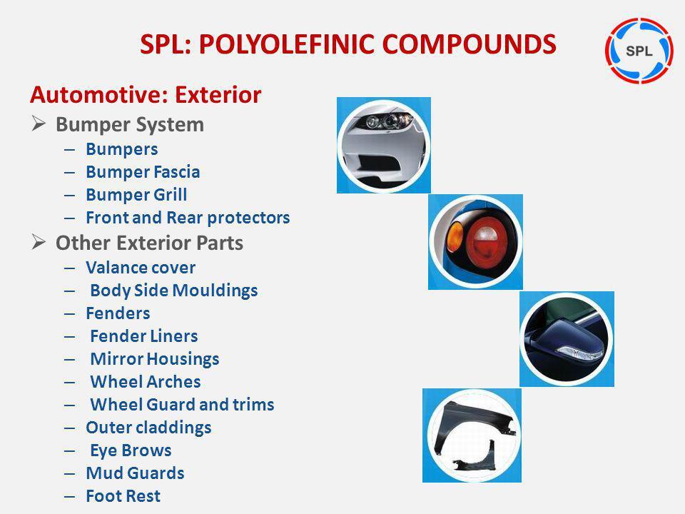 Automotive: Exterior Bumper System – Bumpers – Bumper Fascia – Bumper Grill – Front and Rear protectors Other Exterior Parts – Valance cover – Body Si
