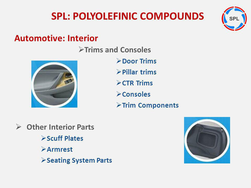 Trims and Consoles Door Trims Pillar trims CTR Trims Consoles Trim Components Other Interior Parts Scuff Plates Armrest Seating System Parts SPL: POLY