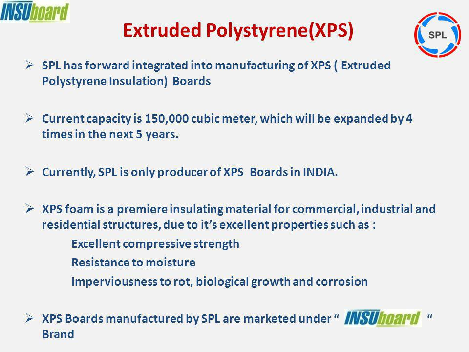 SPL has forward integrated into manufacturing of XPS ( Extruded Polystyrene Insulation) Boards Current capacity is 150,000 cubic meter, which will be