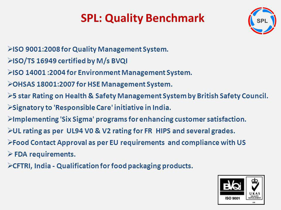 ISO 9001:2008 for Quality Management System. ISO/TS 16949 certified by M/s BVQI ISO 14001 :2004 for Environment Management System. OHSAS 18001:2007 fo