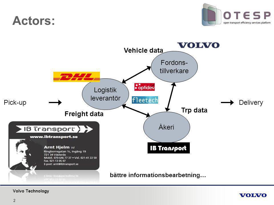 Volvo Technology Actors: Pick-up Delivery Fordons- tillverkare Logistik leverantör Åkeri bättre informationsbearbetning… Freight data Trp data Vehicle data IB Transport 2
