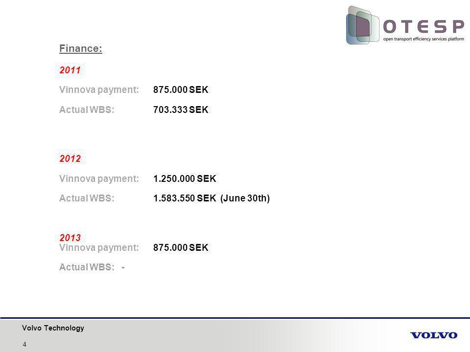 Volvo Technology Finance: 2011 Vinnova payment: 875.000 SEK Actual WBS: 703.333 SEK 2012 Vinnova payment: 1.250.000 SEK Actual WBS: 1.583.550 SEK (June 30th) 2013 Vinnova payment: 875.000 SEK Actual WBS: - 4