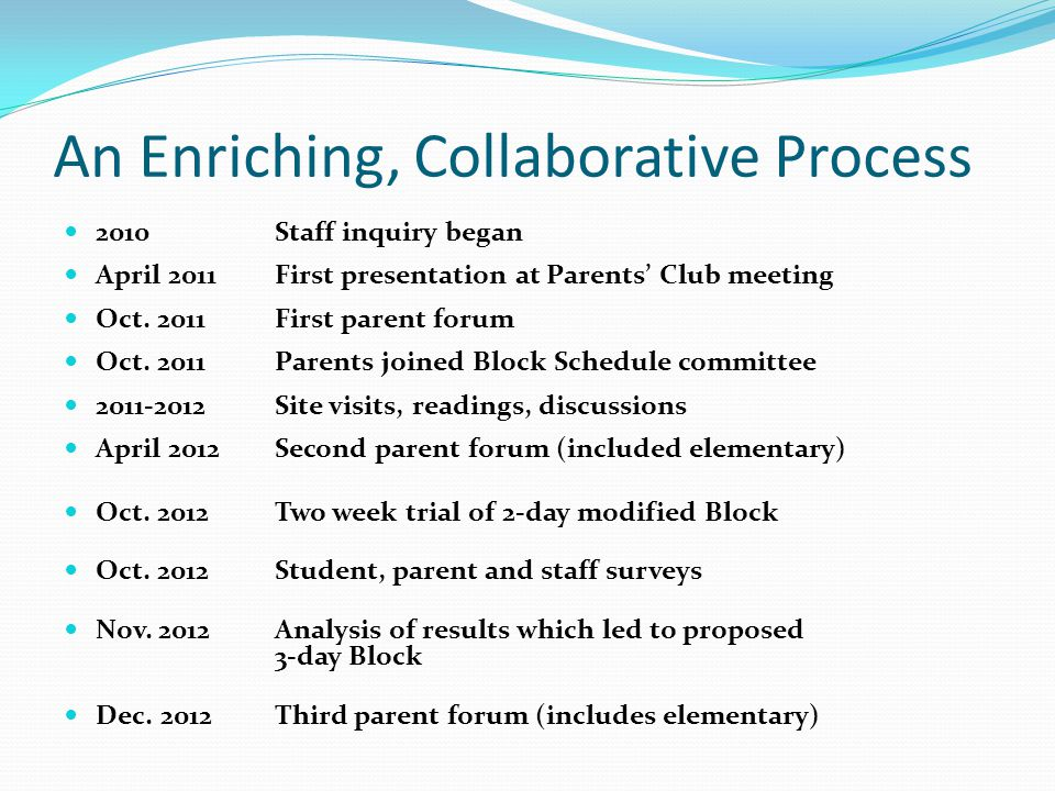 An Enriching, Collaborative Process 2010Staff inquiry began April 2011First presentation at Parents Club meeting Oct. 2011First parent forum Oct. 2011