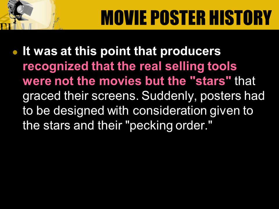 It was at this point that producers recognized that the real selling tools were not the movies but the stars that graced their screens.