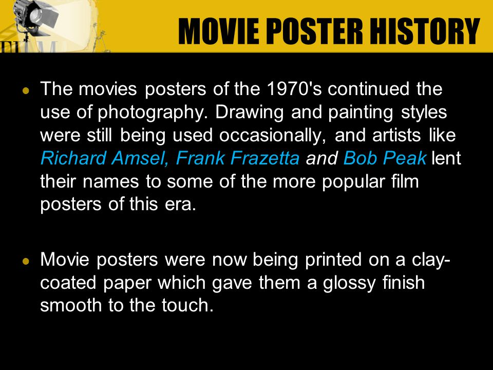 The movies posters of the 1970 s continued the use of photography.