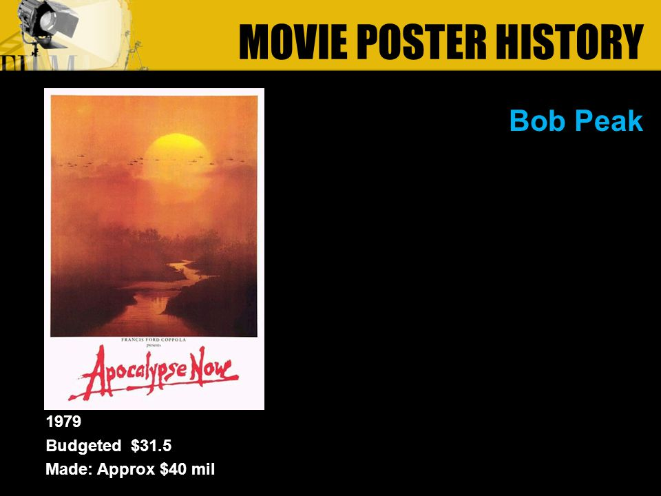 Bob Peak MOVIE POSTER HISTORY 1979 Budgeted $31.5 Made: Approx $40 mil