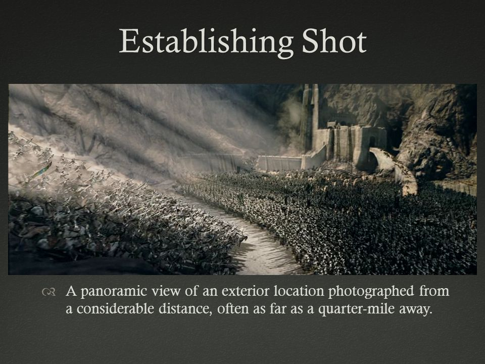 Establishing ShotEstablishing Shot A panoramic view of an exterior location photographed from a considerable distance, often as far as a quarter-mile