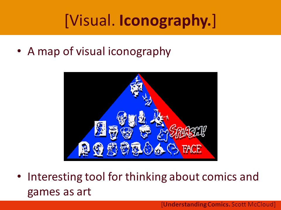 [Visual. Iconography.] A map of visual iconography Interesting tool for thinking about comics and games as art [Understanding Comics. Scott McCloud]