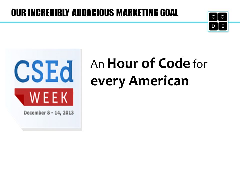 OUR INCREDIBLY AUDACIOUS MARKETING GOAL An Hour of Code for every American