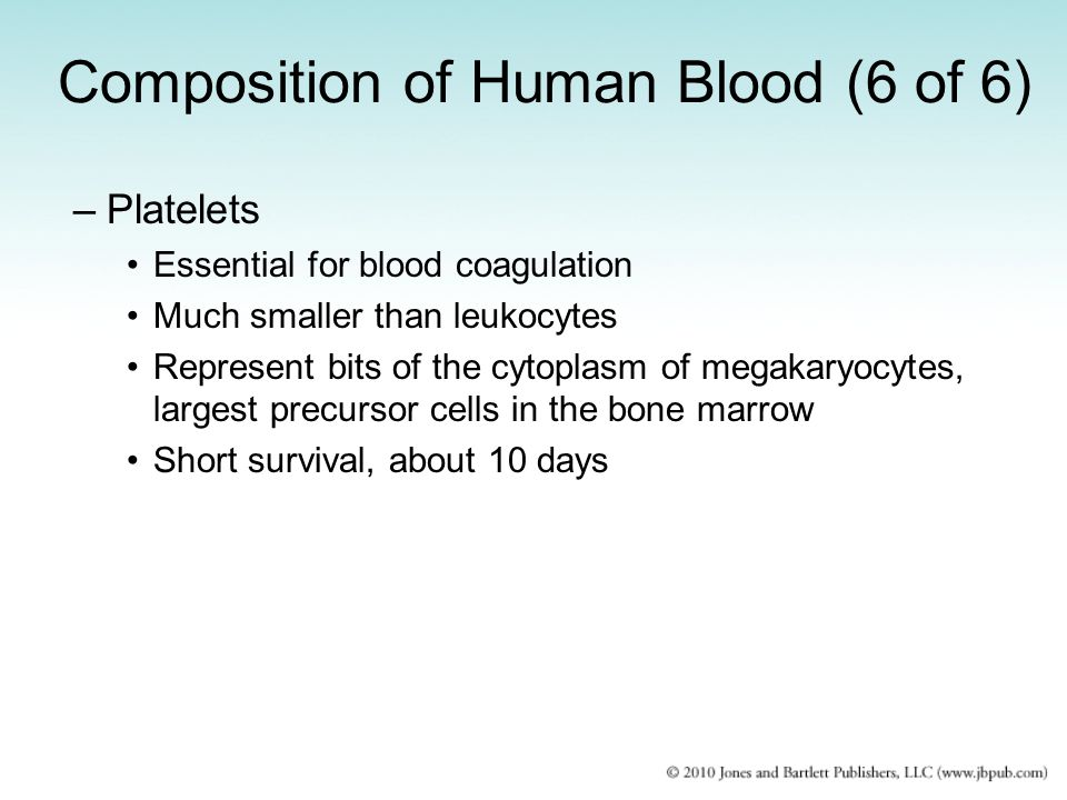 Composition of Human Blood (6 of 6) –Platelets Essential for blood coagulation Much smaller than leukocytes Represent bits of the cytoplasm of megakar