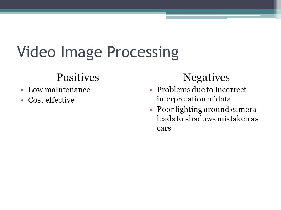 Video Image Processing Positives Low maintenance Cost effective Negatives Problems due to incorrect interpretation of data Poor lighting around camera leads to shadows mistaken as cars