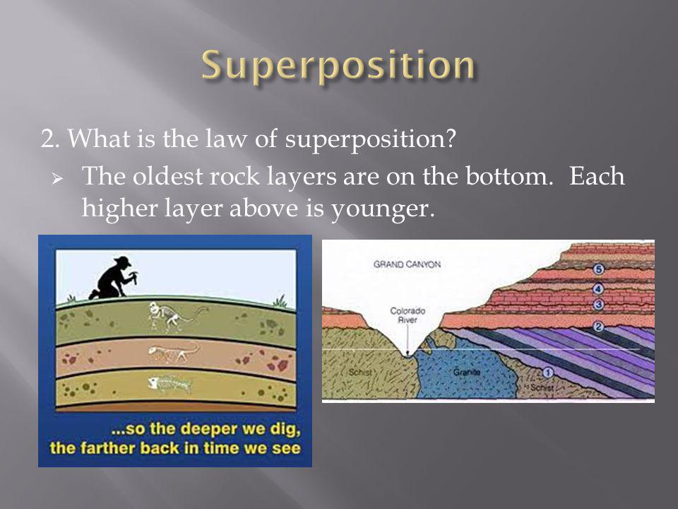 2. What is the law of superposition? The oldest rock layers are on the bottom. Each higher layer above is younger.
