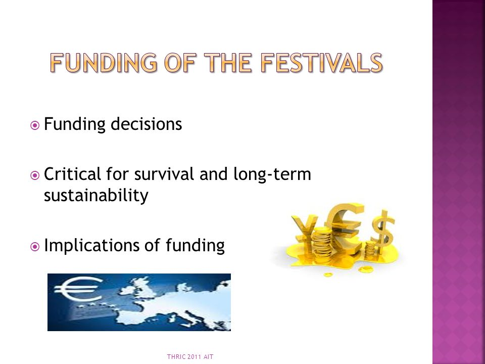 Funding decisions Critical for survival and long-term sustainability Implications of funding THRIC 2011 AIT