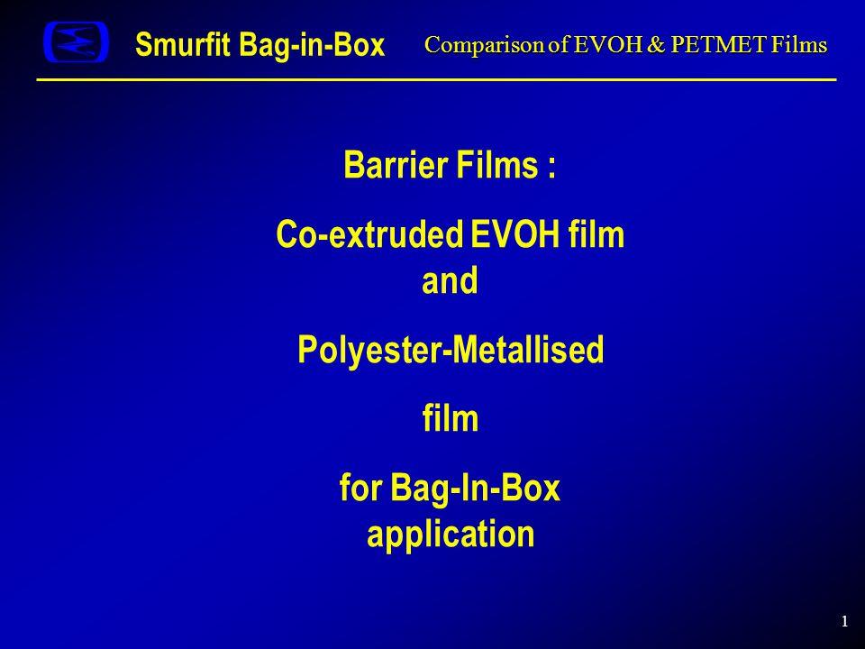 1 Comparison of EVOH & PETMET Films Smurfit Bag-in-Box Barrier Films : Co-extruded EVOH film and Polyester-Metallised film for Bag-In-Box application