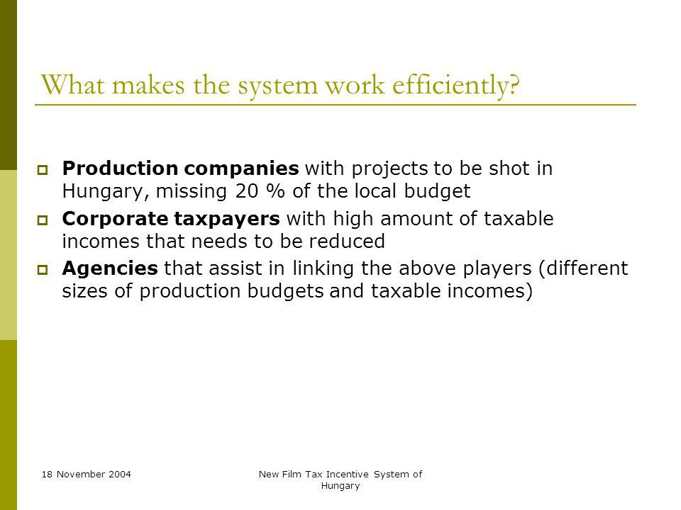 18 November 2004New Film Tax Incentive System of Hungary What makes the system work efficiently.
