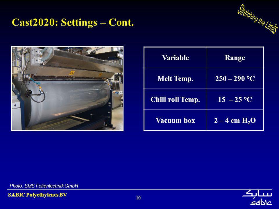 SABIC Polyethylenes BV 10 Cast2020: Settings – Cont. VariableRange Melt Temp.250 – 290 °C Chill roll Temp.15 – 25 °C Vacuum box2 – 4 cm H 2 O Photo: S