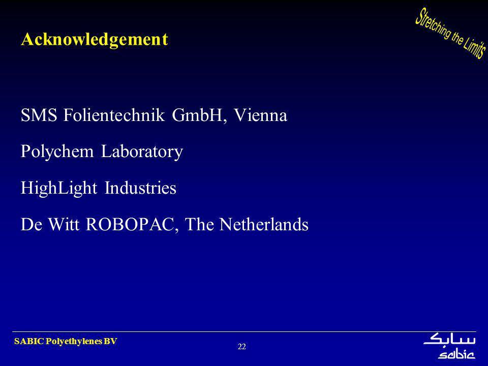 SABIC Polyethylenes BV 22 Acknowledgement SMS Folientechnik GmbH, Vienna Polychem Laboratory HighLight Industries De Witt ROBOPAC, The Netherlands