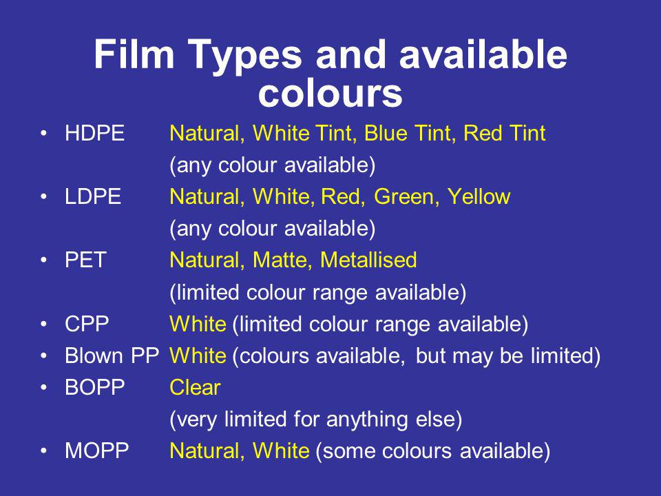 Film Types and available colours HDPENatural, White Tint, Blue Tint, Red Tint (any colour available) LDPENatural, White, Red, Green, Yellow (any colou