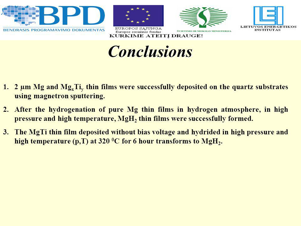 Conclusions 1.2 µm Mg and Mg x Ti y thin films were successfully deposited on the quartz substrates using magnetron sputtering.