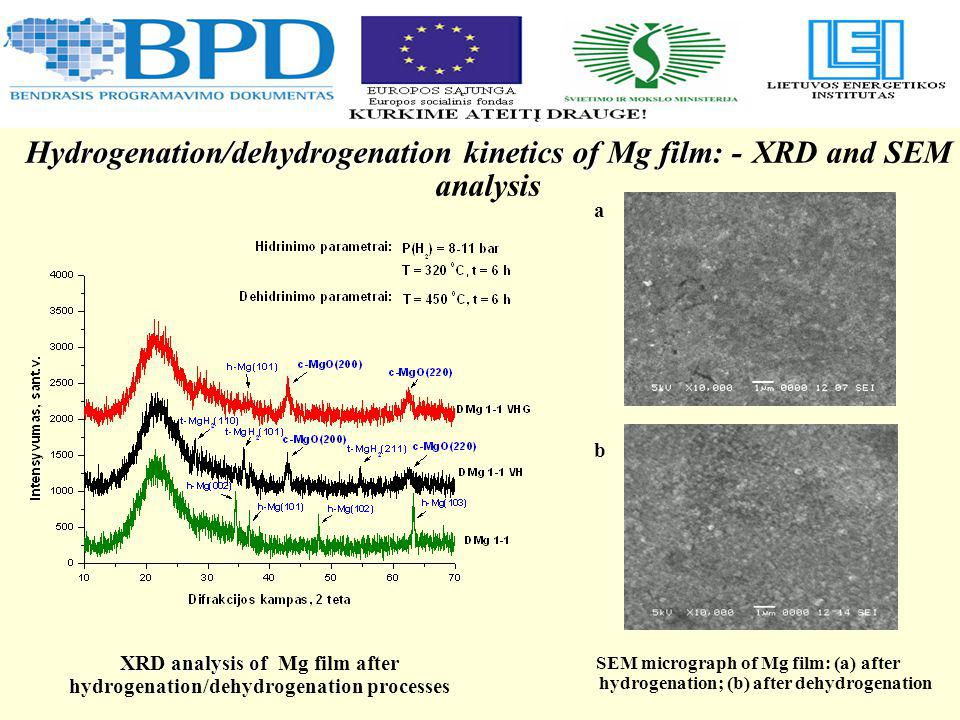 Hydrogenation/dehydrogenation kinetics of Mg film: Hydrogenation/dehydrogenation kinetics of Mg film: - XRD and SEM analysis SEM micrograph of Mg film: (a) after hydrogenation; (b) after dehydrogenation XRD analysis of XRD analysis of Mg film after hydrogenation/dehydrogenation processes b a