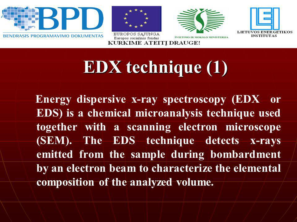 Energy dispersive x-ray spectroscopy (EDX or EDS) is a chemical microanalysis technique used together with a scanning electron microscope (SEM). The E