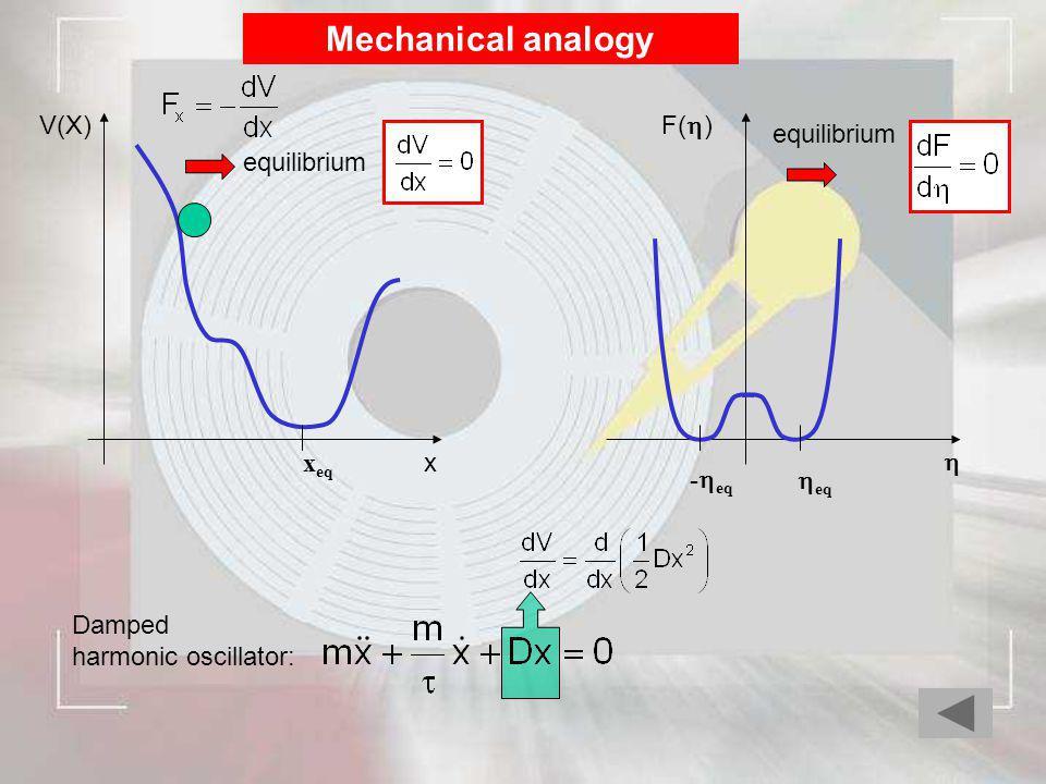 V(X) x equilibrium Mechanical analogy equilibrium F( ) eq - eq x eq Damped harmonic oscillator: