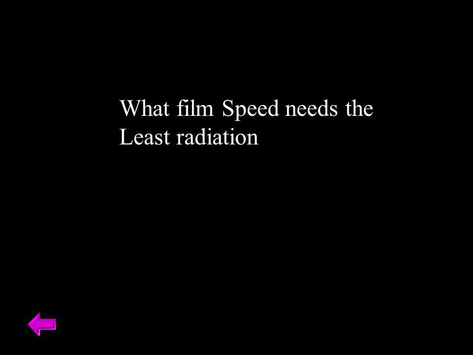 What film Speed needs the Least radiation