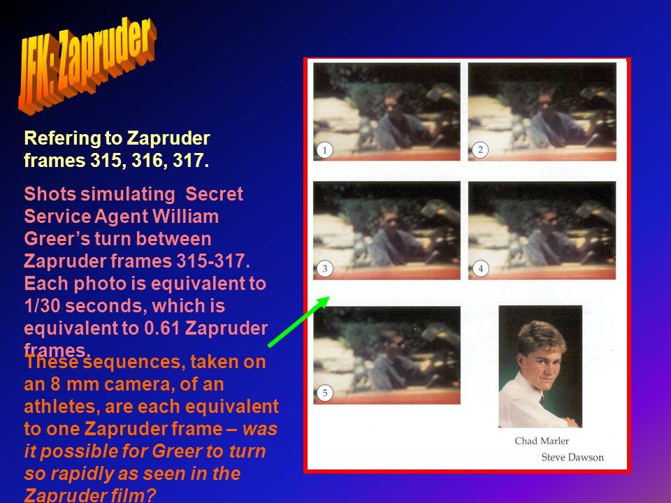 Refering to Zapruder frames 315, 316, 317. Shots simulating Secret Service Agent William Greers turn between Zapruder frames 315-317. Each photo is eq