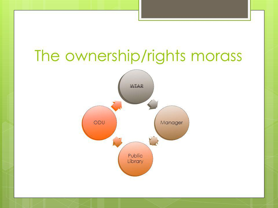 WTARManager Public Library ODU The ownership/rights morass WTARManager Public Library ODU