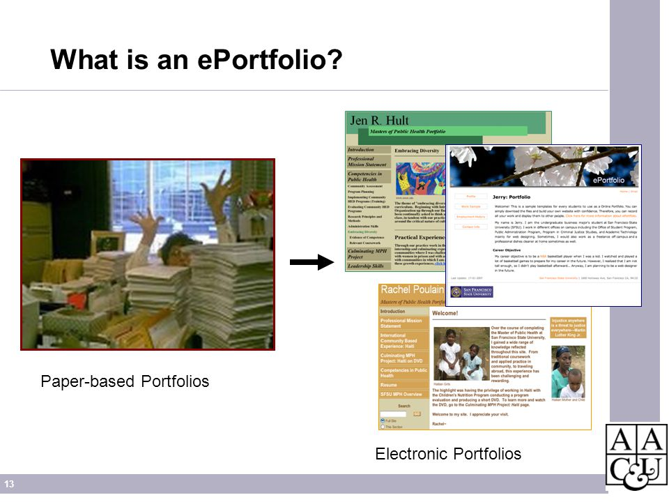 13 What is an ePortfolio? Paper-based Portfolios Electronic Portfolios