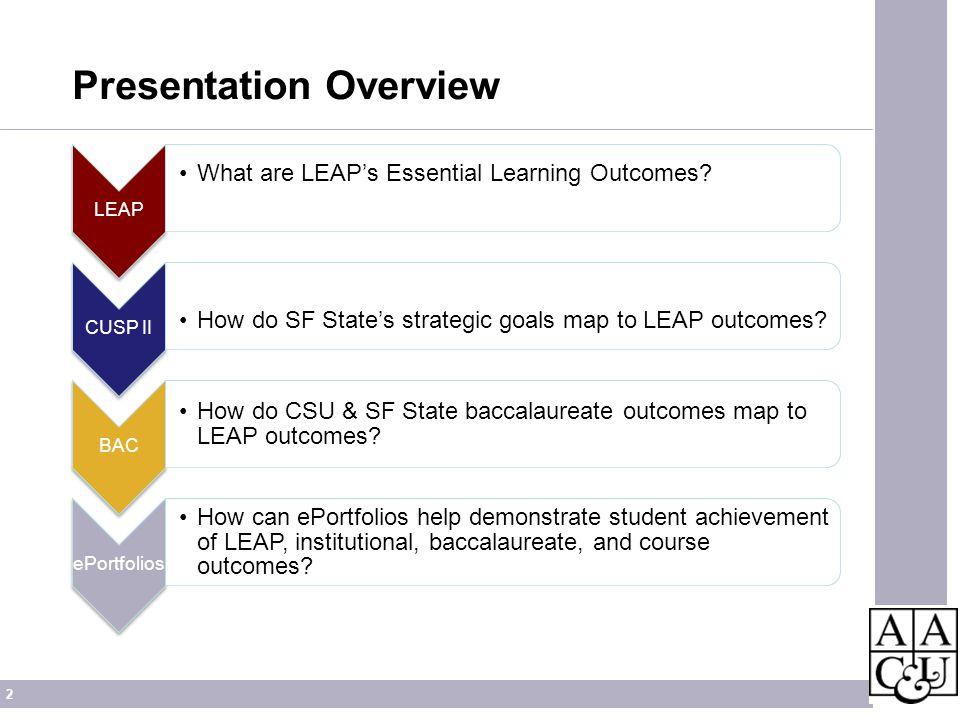 2 Presentation Overview LEAP What are LEAPs Essential Learning Outcomes? CUSP II How do SF States strategic goals map to LEAP outcomes? BAC How do CSU