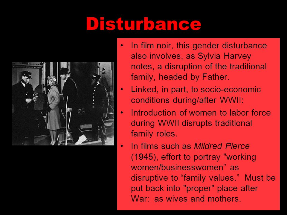 Disturbance In film noir, this gender disturbance also involves, as Sylvia Harvey notes, a disruption of the traditional family, headed by Father.