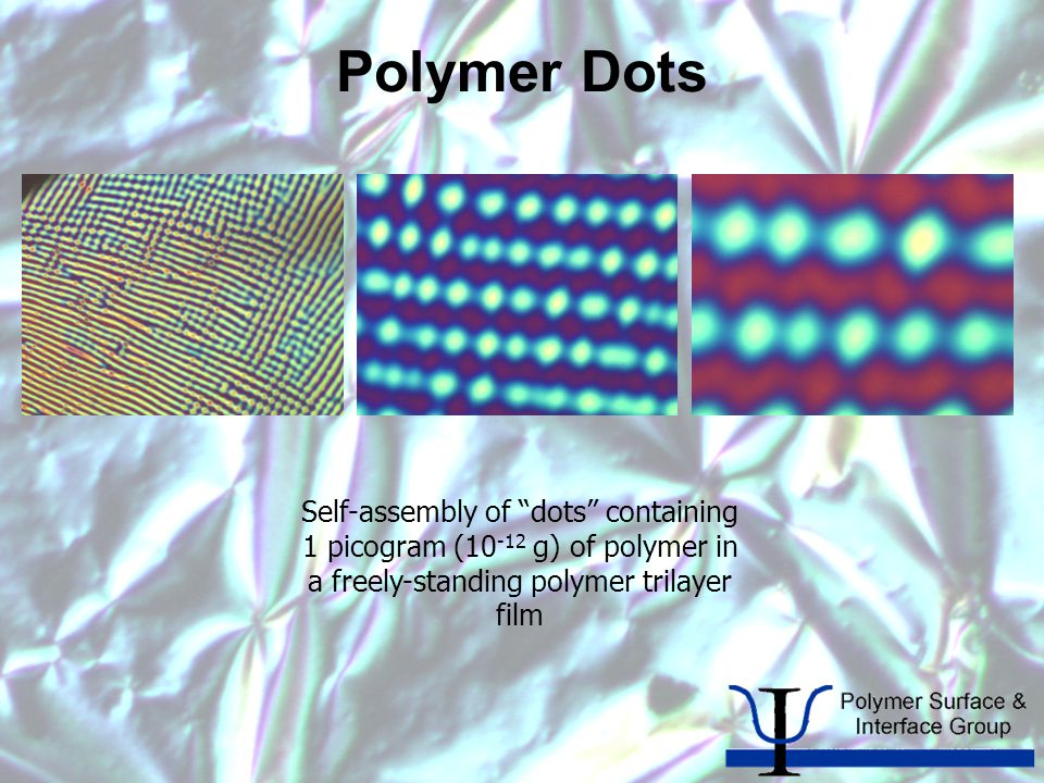 Polymer Dots Self-assembly of dots containing 1 picogram (10 -12 g) of polymer in a freely-standing polymer trilayer film